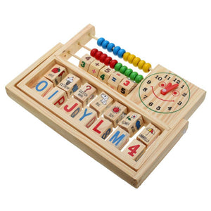 Montessori Teaching Aid with Abacus, Alphabet and Clock - Montessori Toy Box