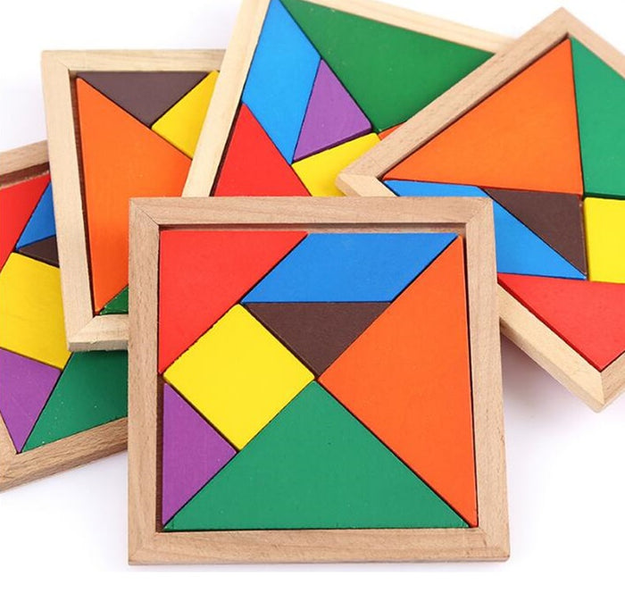 Wooden Colored Tangram Puzzle