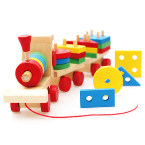 Red Wheels Wooden Toy Train with Colorful Stacking Blocks - Montessori Toy Box