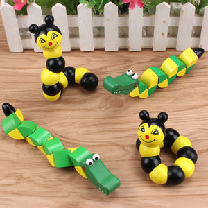 Colorful Wooden Worm, Crocodile, Caterpillar and Bee