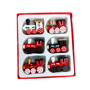 Christmas Decorations Painted Wood Trains [6Pcs/Set