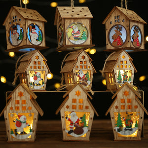 DIY Led Light Wooden House Christmas Tree Decorations