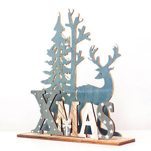 Natural Elk Wood Christmas Tree Ornaments