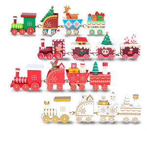 Santa's Christmas Wooden Train Ornaments