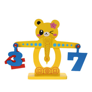 Cute Bear Wooden Numbers and Fruits Balance Beam - Montessori Toy Box