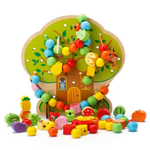Colorful Tree with Wooden Beads - Montessori Toy Box