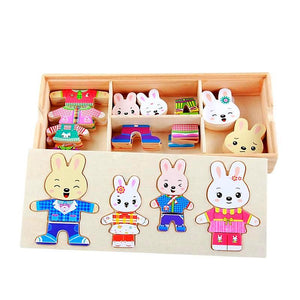 Rabbit Family Change the Clothes Puzzle and Learn to Dress - Montessori Toy Box