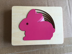 Layered 3D Puzzles with Rabbit, Bird or Whale - Montessori Toy Box