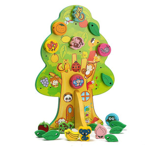 Wooden Tree House with Fruit and Animal Beads - Montessori Toy Box