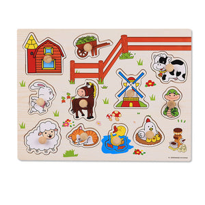 Baby Montessori Wooden Puzzle with Hand Grabs - Montessori Toy Box
