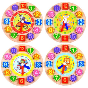 Cartoon Wooden Clock - Montessori Toy Box