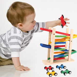 Colorful Abacus Car Track with 4 Toy Cars - Montessori Toy Box