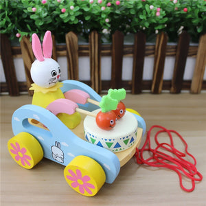 Cute Rabbit Beating Drum Pull Along Toy - Montessori Toy Box