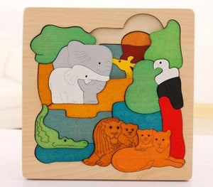 Colorful Multilayer Wooden Storytelling Puzzles - Montessori Toy Box
