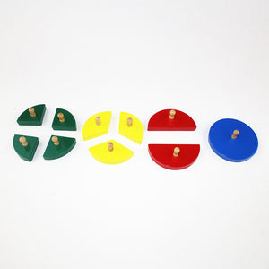 Wood Cut-Out Circles Learn Fractions - Quarter, Third, Half, Whole - Montessori Toy Box