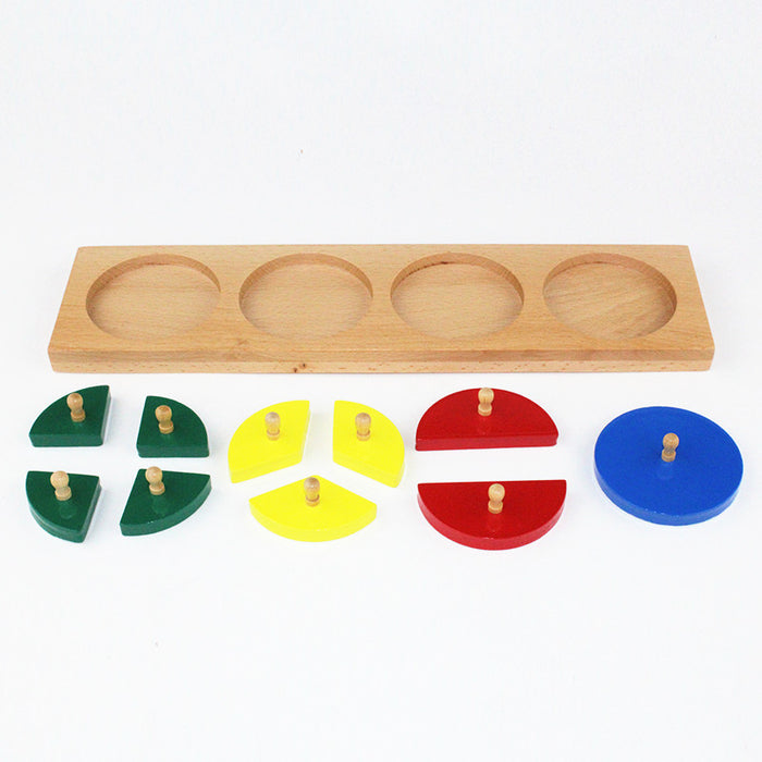Wood Cut-Out Circles Learn Fractions - Quarter, Third, Half, Whole