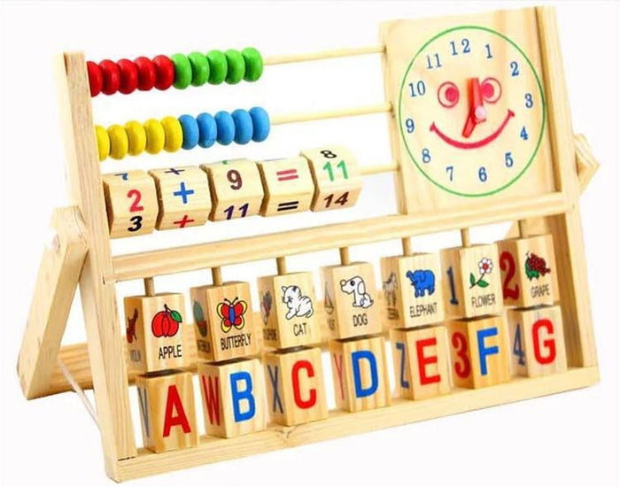 Montessori Teaching Aid with Abacus, Alphabet and Clock