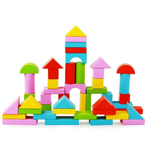 Geometric Shapes Building Blocks (50 pcs) - Montessori Toy Box