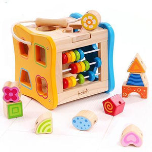 Wooden Multi Shape Sorter with Abacus - Montessori Toy Box