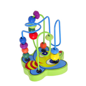 Bumblebee Maze Roller Coaster with Blue and Green Spirals - Montessori Toy Box