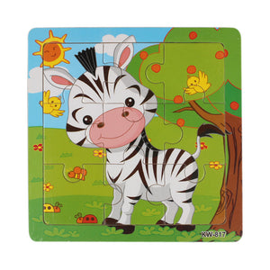 Happy Animals Wooden Jigsaw Puzzles - Montessori Toy Box