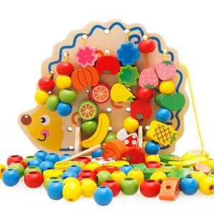 Colorful Hedgehog with Wooden Beads - Montessori Toy Box
