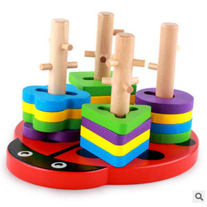 Ladybug Wooden Poles Geometry Shape Sorter - Montessori Toy Box
