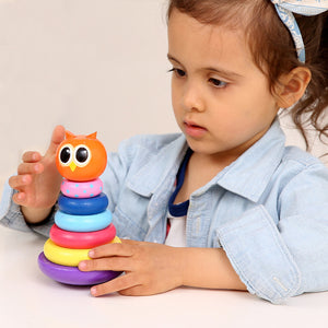 Owl and Hippo Rainbow Stacking Rings - Montessori Toy Box