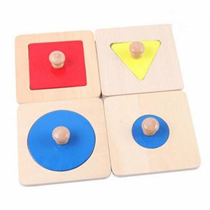Montessori Wood 4 Shapes Matching Puzzle - Montessori Toy Box