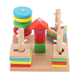 Wooden Building Blocks Learn Shapes and Colors - Montessori Toy Box