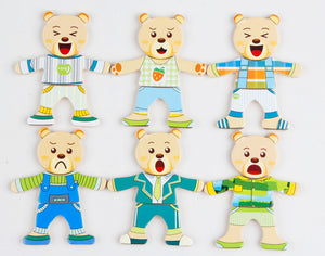 Bear Family Change the Clothes Puzzle and Learn to Dress - Montessori Toy Box