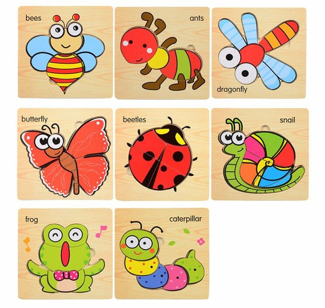Happy Baby Wooden 3D Puzzles [8 puzzles/set]