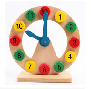 Red & Yellow Green Wooden Clock - Montessori Toy Box