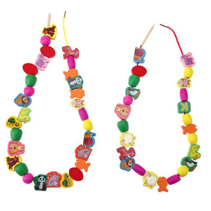 Animals Threading Beads Necklace (60 Pieces) - Montessori Toy Box