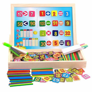 Wooden Double-sided Magnetic Maths Drawing Board - Montessori Toy Box