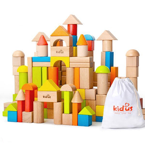 Colorful or Natural Wooden Blocks (80 pcs) - Montessori Toy Box