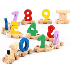 Wooden Toy Train with Colorful Numbers 0 to 9 - Montessori Toy Box