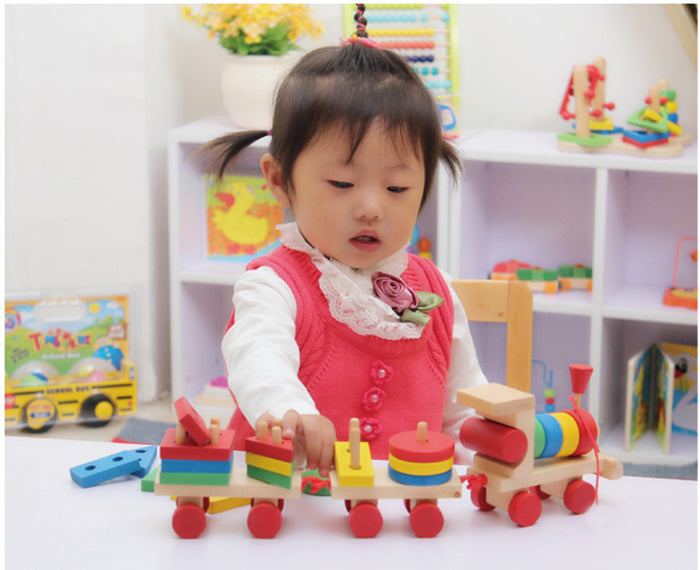 Red Wheels Wooden Toy Train with Colorful Stacking Blocks