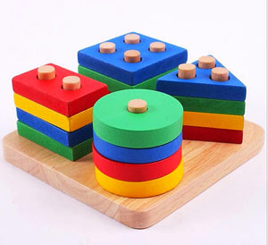 Wooden Building Blocks with Four Shapes and Colors - Montessori Toy Box