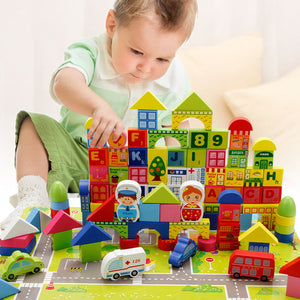 City Traffic Wooden Blocks (100 pcs) - Montessori Toy Box