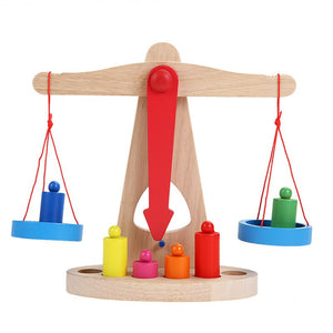 Montessori Wooden Balance Scale With 6 Weights - Montessori Toy Box