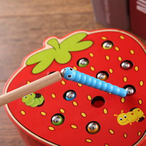 Magnetic Strawberry Apple Catch the Worm Game - Montessori Toy Box