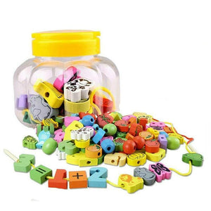 Wooden Animal and Fruit Beads Necklace in a Jar (26 pieces) - Montessori Toy Box