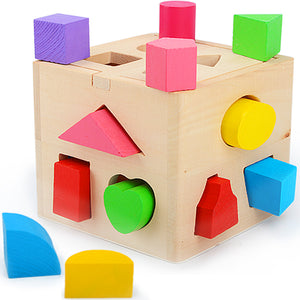 Classic Wooden Shape Sorter Cube - Montessori Toy Box