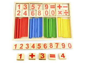 Wooden Box with Maths Digits and Montessori Wooden Sticks