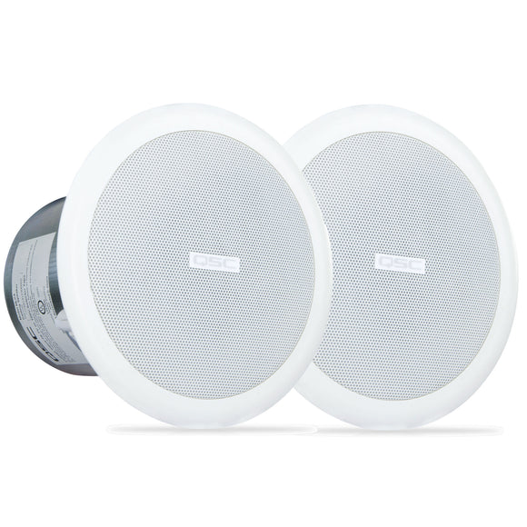 2x QSC AC-C4T 4.5-inch Full-range, 140 degree Conical Ceiling Speakers