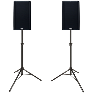 "QSC K10.2 Dual 8"" Powered 4000 Watt PA System with Stands and Carrying Cases"