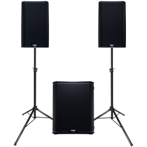 "QSC K12.2 Dual 12"" Speaker & KS118 18"" Subwoofer Powered 7600 Watt PA System with Stands and Carrying Cases"