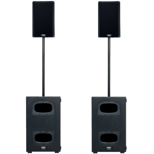 "QSC K8.2 Dual 8"" Speaker & KS112 12"" Subwoofer Powered 8000 Watt PA System with Stands and Carrying Cases"