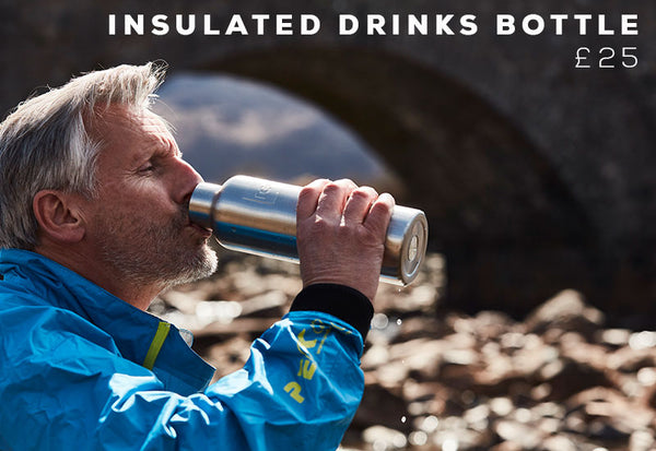 Father drinking from insulated drinks bottle
